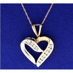 Diamond Heart 10k White & Yellow Gold Pendant with Chain
