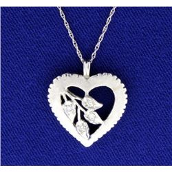 Diamond 14K White Gold Vintage Heart Pendant