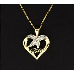 "10K Diamond Heart ""Mom"" Pendant"