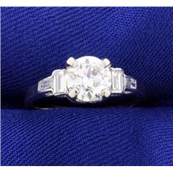 Vintage Diamond Ring set in Platinum Setting with Baguettes
