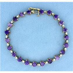 Amethyst Heart and Diamond Line Bracelet