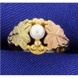 Rose, Black, & Yellow Gold Pearl Ring