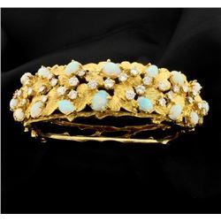 18K Diamond and Opal Bangle Bracelet
