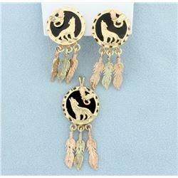 Dream catcher Pendant & Earrings Set