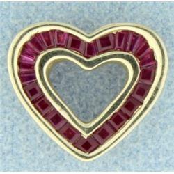 1ct TW Ruby Heart Pendant
