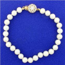 Vintage 8 Inch Pearl Strand Bracelet with Diamond Clasp
