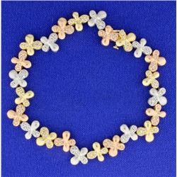 1 ct TW Diamond Flower Design Bracelet