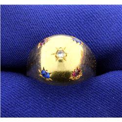 18k Gold Multi-Gemstone Dome Ring