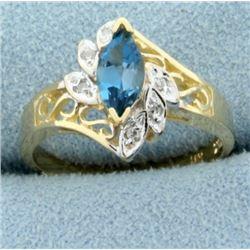 Blue Spinel & Diamond Ring