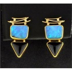 Opal and Onyx Earrings