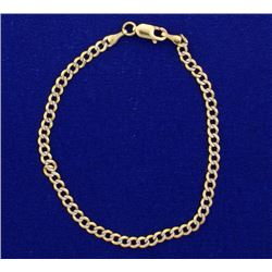7 1/4 Inch Italian Made Yellow and White Gold Diamond cut Bracelet