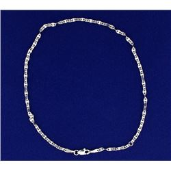 White Gold Anchor Chain Anklet