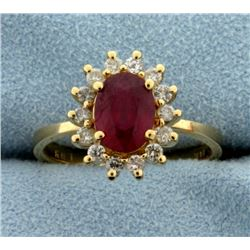 1.5ct Natural Ruby and Diamond Ring