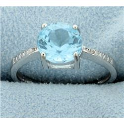Large 1.6ct Blue Topaz Ring with Diamonds
