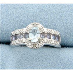 Aquamarine and Tanzanite Ring with Diamonds
