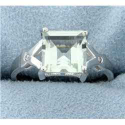 Modern 2.57ct Green Amethyst Ring with Diamonds