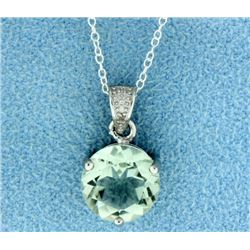 Large Green Amethyst with Diamond Pendant and Chain