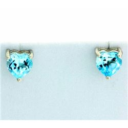 Heart Shaped Sky Blue Topaz Stud Earrings