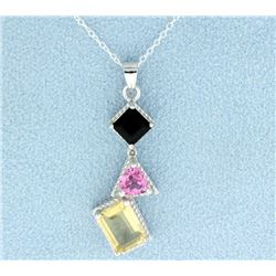 Modern Pink & Smokey Topaz with Citrine Pendant and Chain