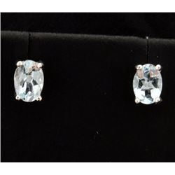 Oval 1.3ct TW Aquamarine Stud Earrings