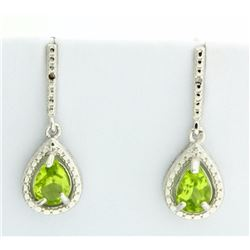 Peridot Pear Drop Earrings with Diamonds