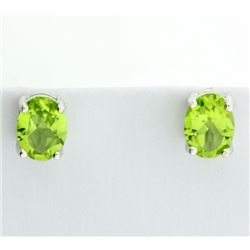 Oval Peridot Stud Earrings