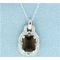 Vintage Style Smokey Topaz Pendant with Diamonds and Chain