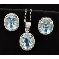 Vintage Style 7ct TW Blue Topaz Earrings and Pendant Set