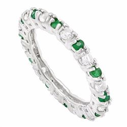 Emerald and White Topaz Stackable Ring in Sterling Silver