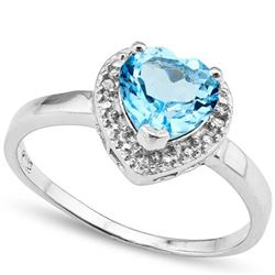 Heart Cut Sky Blue Topaz Ring with Diamonds in Sterling Silver