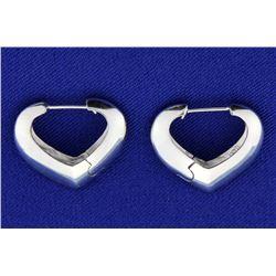 Unique Heart shaped gold hoop earrings