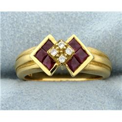 Ruby & Diamond Deco Style Ring