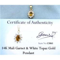 Mali Garnet & White Topaz pendant