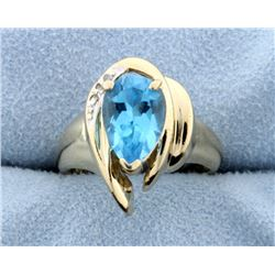 Swiss Blue Topaz & Diamond 14k Ring.