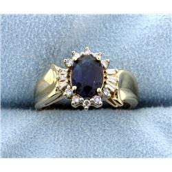 Sapphire & Diamond 10k Yellow Gold Diamond Ring