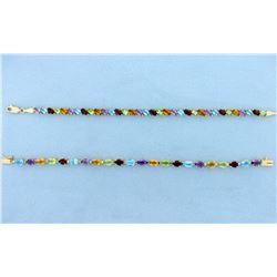 TWO 14k Multi Color Gemstone Bracelets - 20 Carats Total!