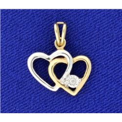 Yellow and White Gold Double Heart & Diamond 10k Pendant