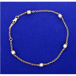 Ankle Bracelet 14k Yellow Gold with 5 Pearls!
