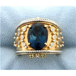 "Designer ""Dallas Prince"" 14k Ring with London Blue Topaz & Diamond Rose Gold and White Gold Accent"