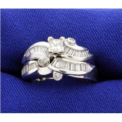 1.5 ct TW Diamond White Gold 2 Piece Wedding Ring Set