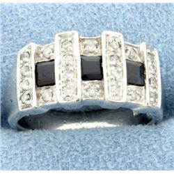 Sapphire & Diamond Ring in White gold