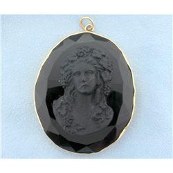 Antique Black Mourning Cameo Pendant