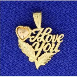 "14K ""I Love You"" Pendant"