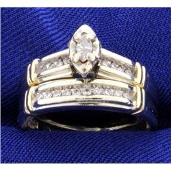 Vintage Diamond Engagement Ring & Wedding Band Set
