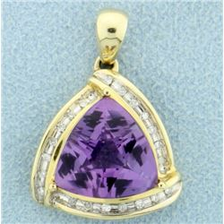 6 ct Amethyst & Diamond Pendant