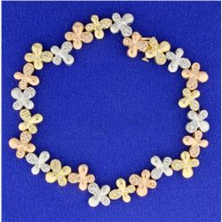 1 ct TW Diamond Flower Design Bracelet