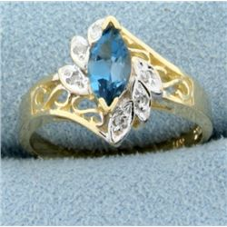 Blue Spinel & Diamond Ring