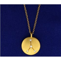 Constellation Cancer 18k Diamond Pendant with Chain