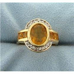 5ct Citrine and Diamond Ring