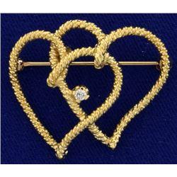 Double Heart Diamond Pin